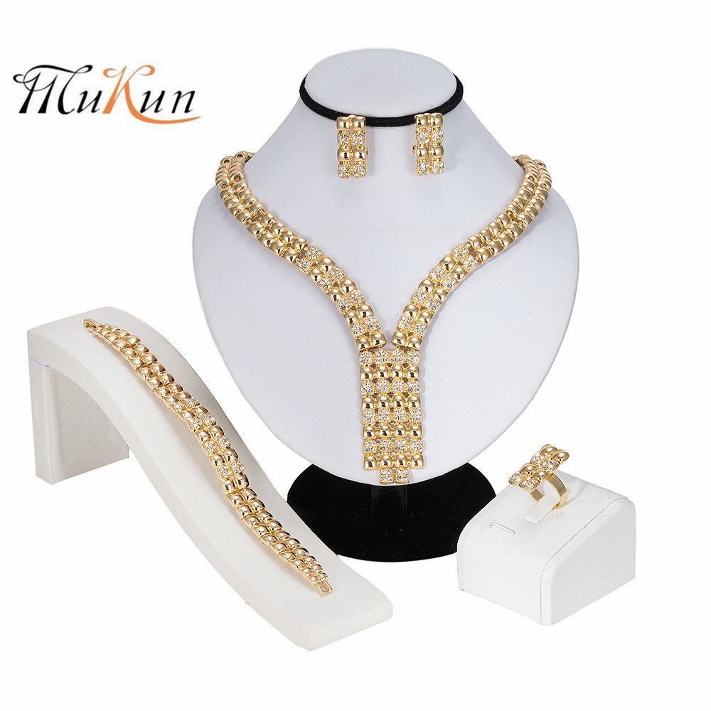 MUKUN African Beads Jewelry Set Fashion Long Imitation Crystal Jewelry Sets For Women Wedding <font><b>Indian</b></font> Ethiopian Jewellery gifts image