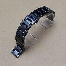 14mm 16mm 18mm 20mm 22mm Venda de Reloj de la Correa De Cerámica Negro para ladys accesorios fit visten los relojes de moda reloj de cuarzo de los hombres nueva