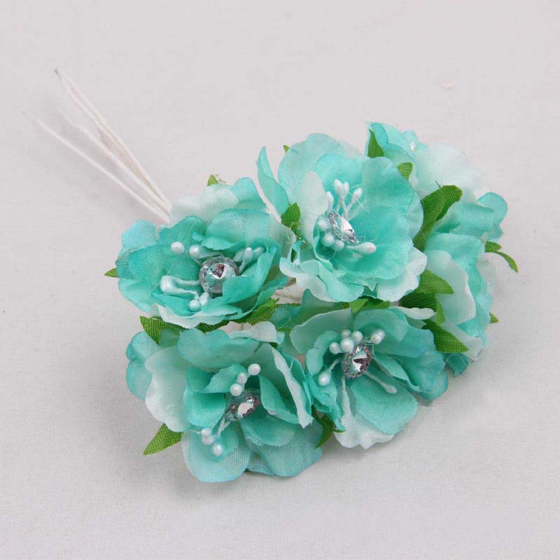 3.5cm small fabric rosas artificial silk cherry blossom branches with crystal,diy arrangements bouquet,decoration garland hair