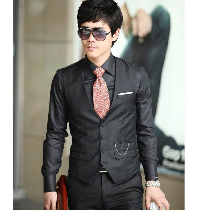 New 2014 High Quality Men's Fashion Business V neck Suit Dress ...