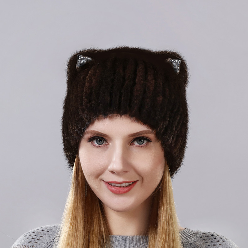 Winter Mink fur Cute Cat Ears With Imitation Diamond Square Cap With Sequins Warm Winter For Women Real Natural Mink Fur Hat