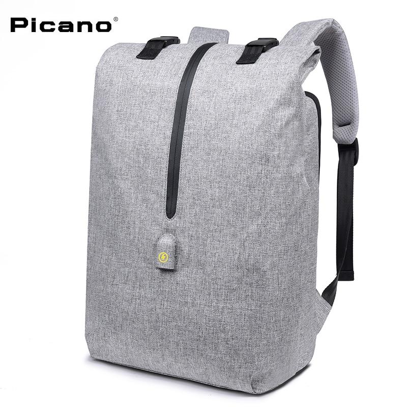 PICANO Minimalist leisure Backpack men 14 15 Laptop Backpack school bag USB Charging teenager waterproof anti theft backpack