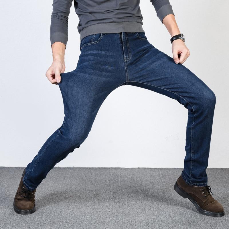 New Men's Classic Jeans Brand Large Size Straight Homme Jean Slim Distressed Design Biker Pants  Black Jeans Bigsize 40 42 44 46