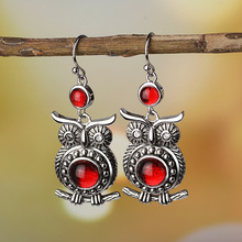 Female Earrings Antique Vintage Owl Red Stone Silver Dangle for Women Fashion Jewelry Accessories Gifts