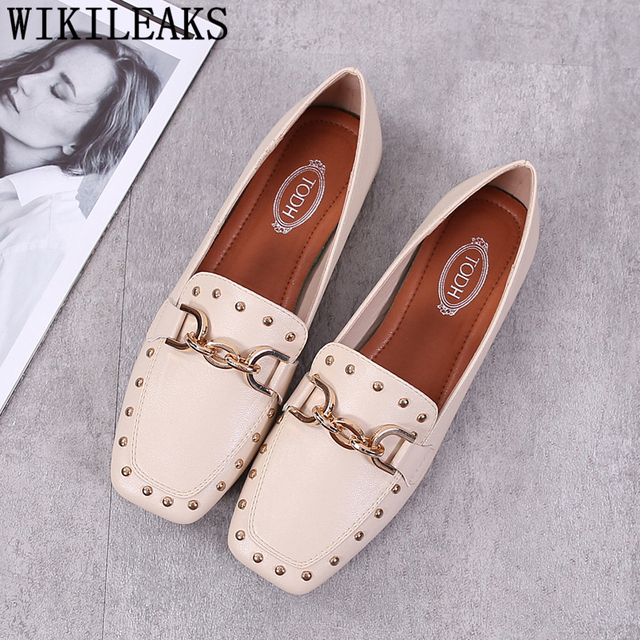 designer shoes women luxury 2018 ladies chain flat shoes women tenis feminino casual shoes woman creepers loafers women sapatos