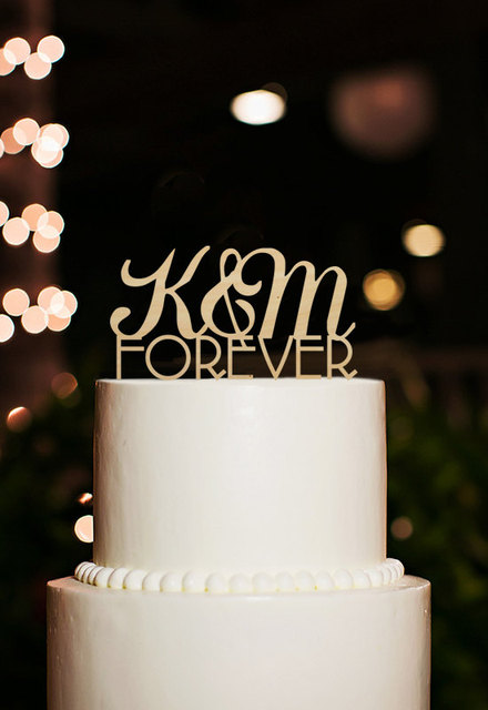 Monogram Cake Toppers Custom Initial Topper Wedding Party Favor Forever