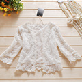 Plus Size Japanese Casual Sweet Shirt Women Short Lace Floral Shawl Cute Sunscreen Female Vestido Shirt Cardigan Mori Girl Y007