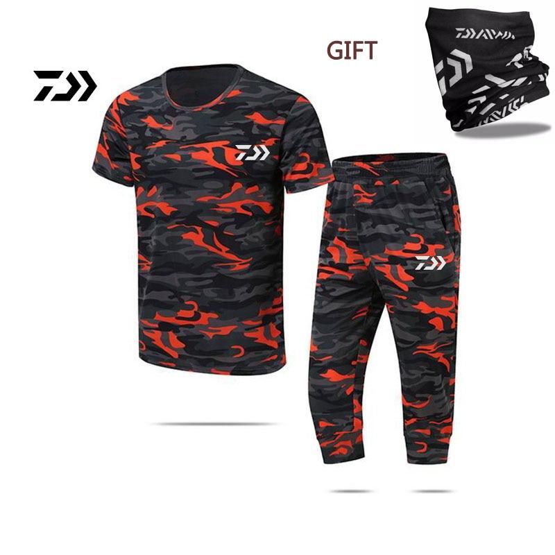 2018 D'été DAIWA Dawa pêche vêtements solaire respirant à séchage rapide Top + pantalon camouflage shorts ensemble 3XL Livraison cadeau
