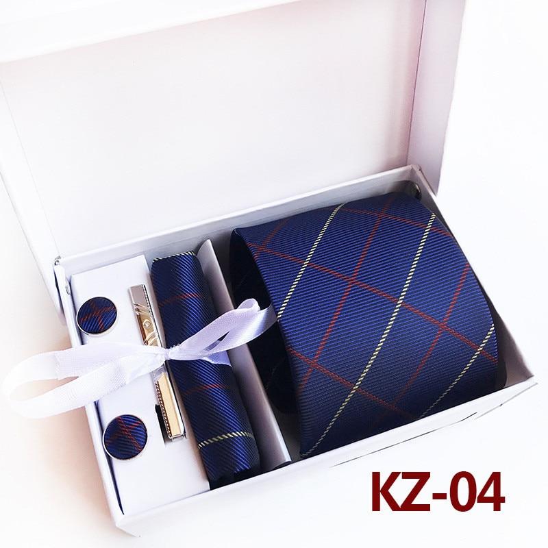 SCST Brand New Plaid Mens Wedding Necktie Blue Slim Silk Ties For Mens Necktie Handkerchief Tie Clips Cufflinks 4pcs Set A091