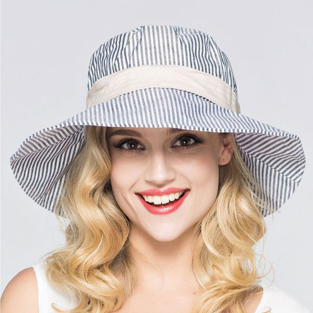 Striped Bucket Hat Foldable Blue White Sunhat Europe Large Brimmed Hat