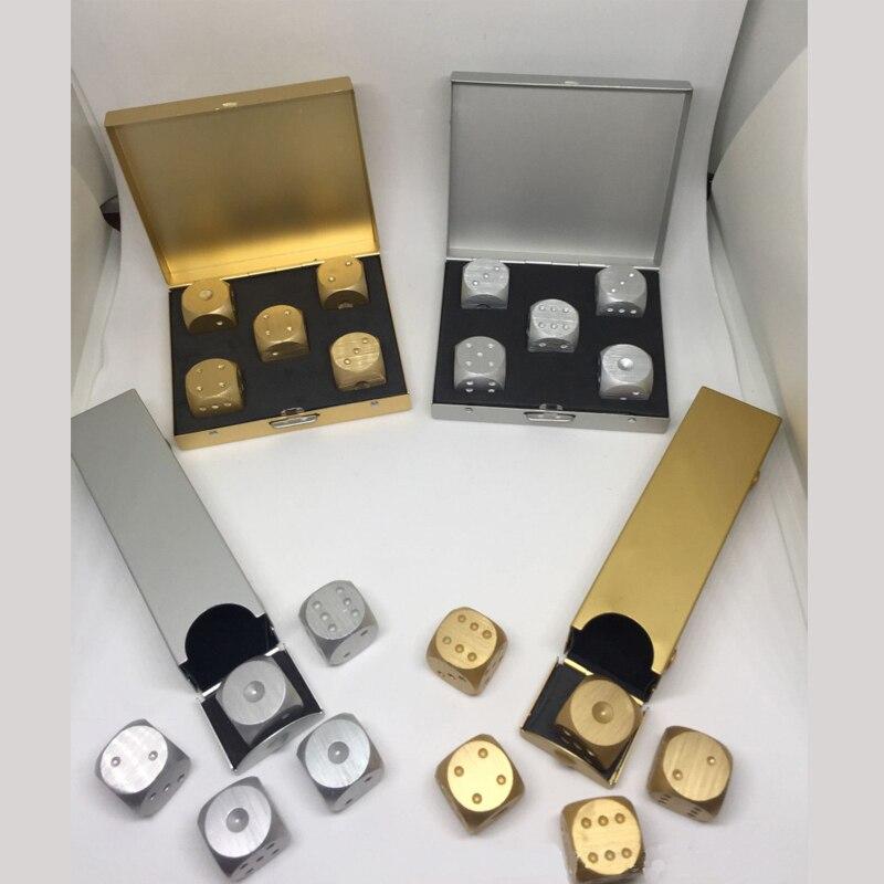 Новые Цветные Кубики из чистого золота из алюминиевого сплава, тяжелый твердый металлический игровой медный инструмент для игры в покерные кости, набор с чехлом