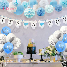 где купить 8Season Baby Shower Paper Banner Its a Girl Boy Bunting Garland Babyshower Blue Pink Decorations Party Supplies Gender Reveal дешево