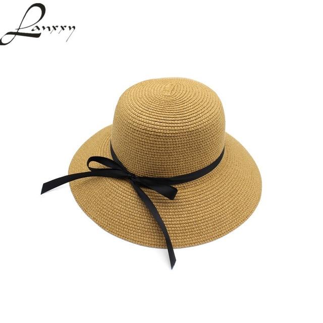 Lanxxy Mulheres Chapéus De Palha Da Praia do Verão Sol Chapéu Panamá Chapeu  Feminino Arco Dobrável abe7e9aed46