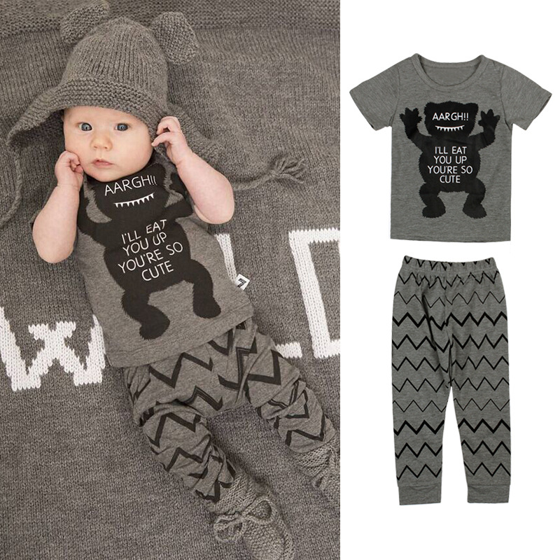 2018 Baby Boys Girls Clothes Newborn Infant Gray Monster Letter T shirt Top+Pants Tops Trousers Suit Outfit Children Clothing
