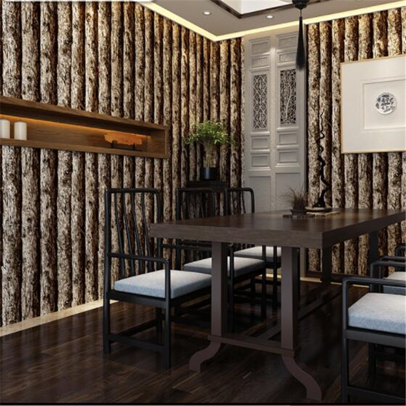 beibehang Imitation wood wallpaper 3D retro nostalgia solid wood logs imitation wooden pattern Chinese restaurant wallpaper