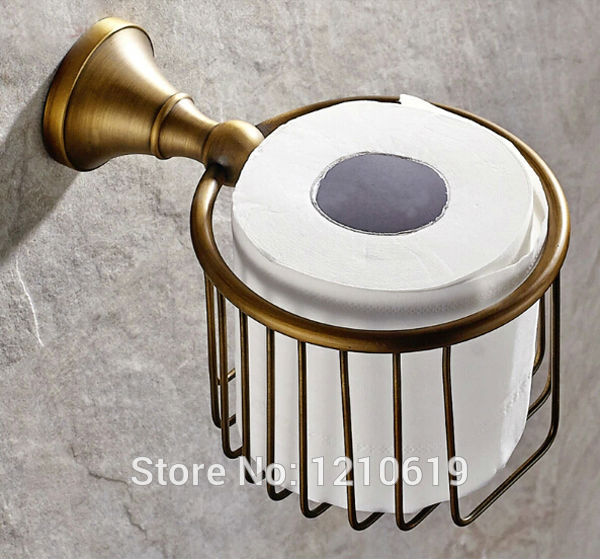 Newly US Free Shipping Solid Brass Bathroom Toilet Paper Basket Holder Antique Brass Round Tissue Rack Shelf  Wall Mounted black of toilet paper all copper toilet tissue box antique toilet paper basket american top hand cartons