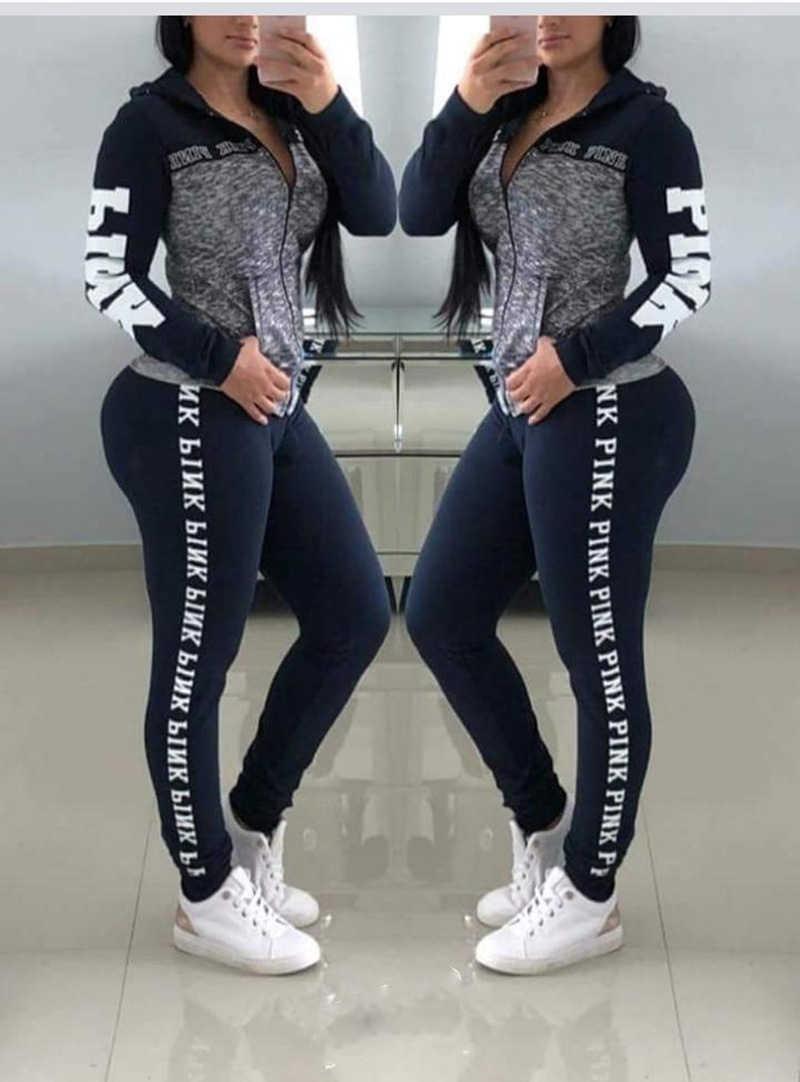 冬ピンクレタープリントのトラックスーツ長袖カジュアル 2 ピース衣装プラスサイズの服 2 点セットパンツスーツ