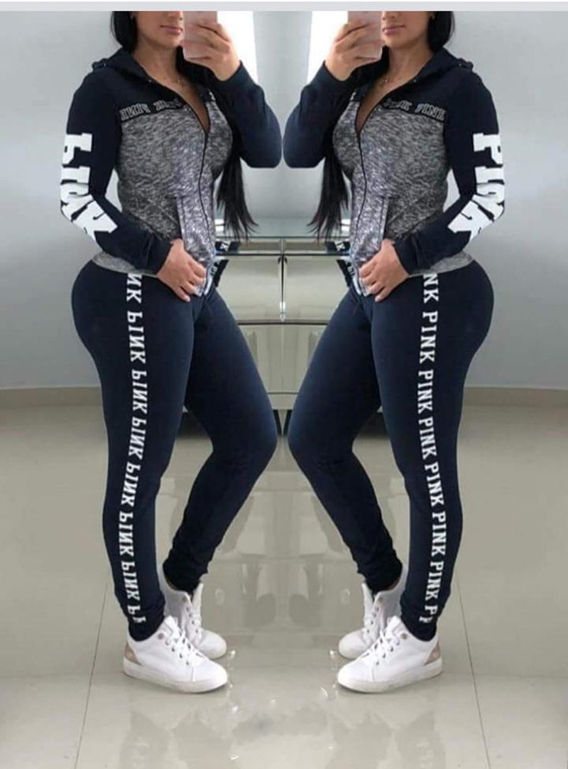 Winter Pink Letter Print Tracksuit For Women Long Sleeve Casual 2 Piece Outfits Plus Size Clothing Two Piece Set Pants Suits
