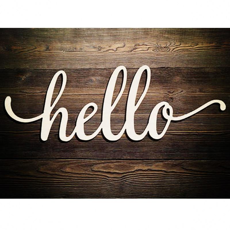 10pcs Hello Script Wood Sign Art Wooden Hello Laser Cut Wedding Decor Cursive Hello Greeting Sign Wall Home Decorations
