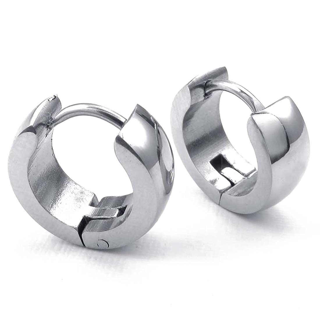 Jewelery Earrings - Minimalist Design Hinged Rings - Stainless Steel - for Men and Women - Silver - With Gift Bag