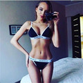 New 2016 Summer Woman Underwear Set Sexy Crop Top And Hot Pant Two Piece Woman Set Wear Elastic Quality Letter Set