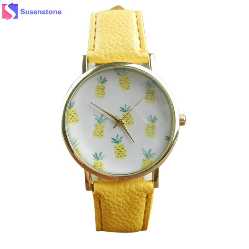 2018 Cute Pineapple Fruit Watches Women Ladies Quartz Watch Fashion Casual PU Leather Analog Wristwatch montre femme relogio ot01 hello kitty cartoon watches for kid girls students leather straps wristwatch analog hellokitty quartz watch montre enfant