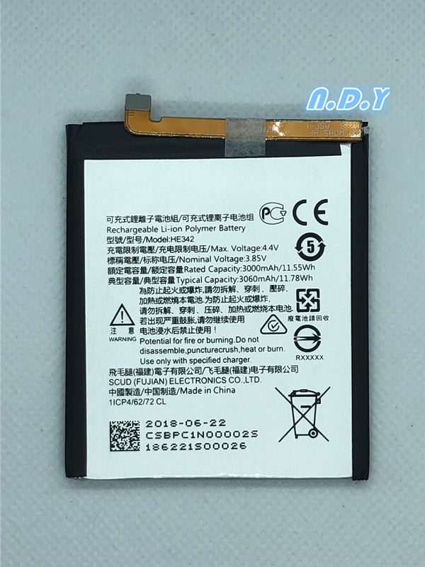 Original HE342 3060mAh Battery For Nokia X6 2018 6.1 Plus TA-1099 HE 342 Batteries Bateria