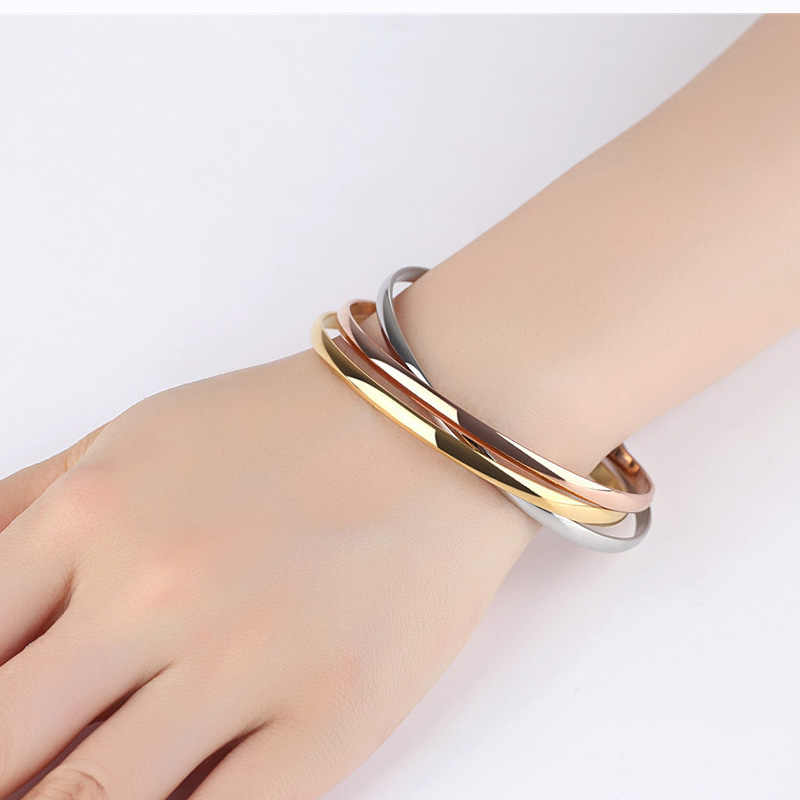 ISINYEE Fashion 3pc/set Titanium Round Bangle Chains For Women Elegant Rose Silver Stainless Steel 3 Color Bracelet Jewelry