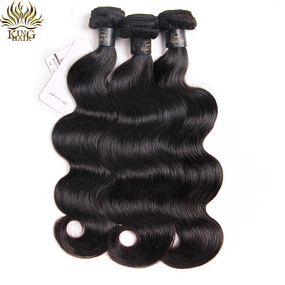 KING HAIR Peruvian Remy Hair Body Wave Bundles Naturlig Sort Farve - Menneskehår (sort)