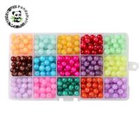 1Box 15 Color Imitation Jade Crackle Glass Beads Baking Painted Round Mixed Color 8mm Hole 1mm