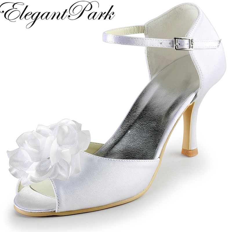 Summer Sandal Woman White Ivory Wedding Shoes EP2020 Flower High Heel Satin Lady bride Bridal prom evening party pumps Blue