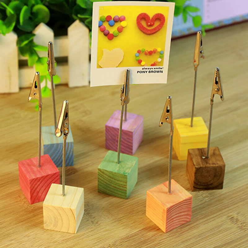 1PC 8 Cube Stand Alligator Wire Card Note Memo Table Photo Picture Clip Holders Craft Decoration Colors Size:2.5*1.2cm