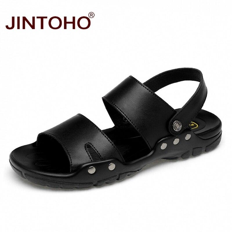 JINTOHO Sandals Men Shoes Genuine-Leather Slippers Black Large-Size Fashion Mens Brand