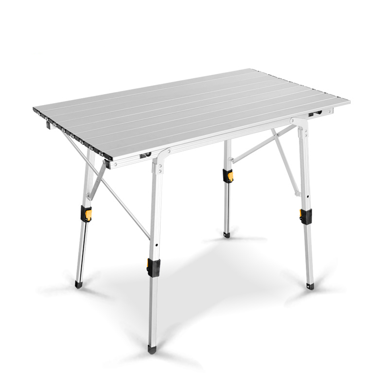 Outdoor Tables Metal Aluminum Suit Portable Folding Picnic Table Aluminum Alloy Lifting Household Table Pure White And Translucent