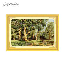 Oak Forest Cross Stitch Landscape Patterns DMC Embroidery Floss Water Soluble Canvas Printed Cross Stitch Kits Needlework Sets(China)