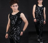 Stage Loaded Punk Men S Stage Male Personality On The Department Of Offbeat Sequined Sleeveless