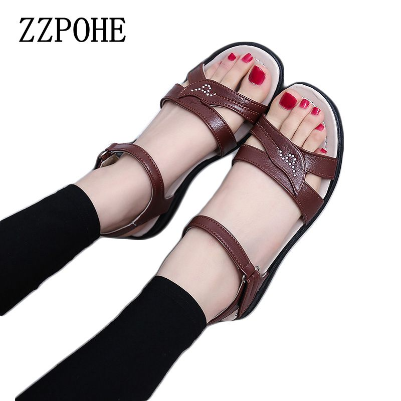 be67315e8a70ae ZZPOHE 2017summer new Mother flat sandals Plus Size soft bottom leather Women  sandals casual Comfortable elderly Walking sandals