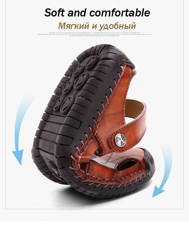 2019 novo clássico sandálias de couro casuais
