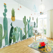 Cactus hand-painted minimalist TV background wall professional production mural wallpaper wholesale custom poster photo wall hand painted color oil painting background wall professional production mural factory wholesale wallpaper poster photo wall
