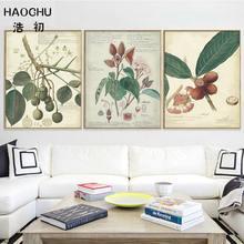 Haochueuropeu americano folhas de frutas verde lona parede decorativa adesivos sala estar quarto arte poster decoração da sua casa