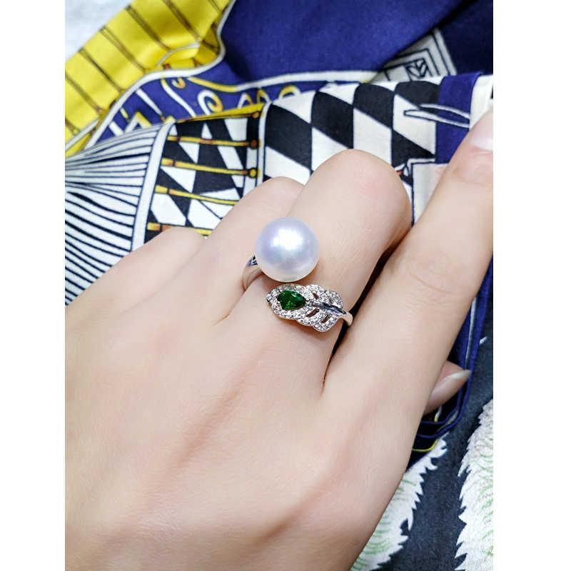 Набор из натурального жемчуга, ожерелье, серьги, кольцо для женщин, серебро 925 пробы, Феникс, зеленый циркон, ювелирные наборы, подарок на свадьбу