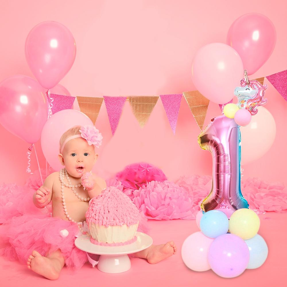 Image 2 - Macaron Figure Birthday Balloons Unicorn Party Decor Unicorn Foil Ballon Number Baloon 1st Birthday Party Decor Kids Baby Shower-in Ballons & Accessories from Home & Garden