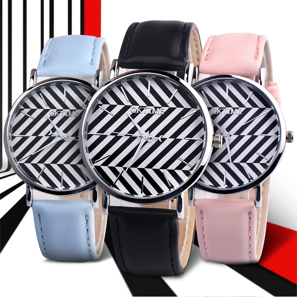 women quartz watch women girl retro Womens Casual Striped Faux Leather Analog Quartz Watch minimalist lover 's watch saat mujer