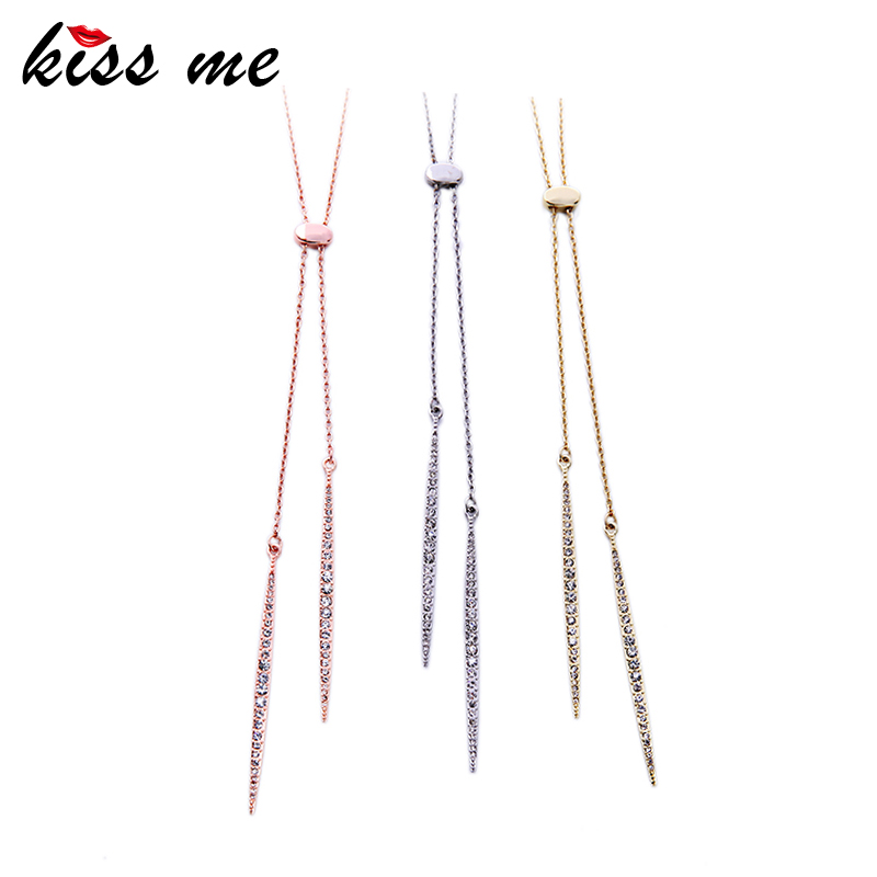 Summer Simple Gold Silver Rose Gold Alloy Long Necklace Women Jewelry Accessories Pendant Necklace