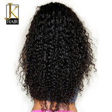 250 Density Curly Lace Front Human Hair Wigs For Women Natural Black Remy Cambodian Wig Plucked Full And Thick JK Elegant Queen(China)