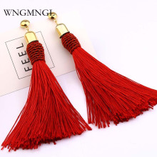 WNGMNGL 2018 New Boho Female long Tassel Earrings Handmade Bohemia Ethnic Silk Dangle Drop Earring For Women Fashion Ear Jewelry