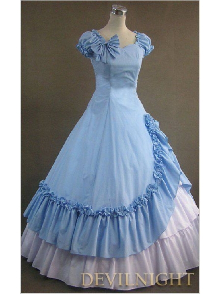 Классический Синий и Белый Раффлед Сладкий Готический Викторианской Платье Платья Фотографии - Цвет: Многоцветный