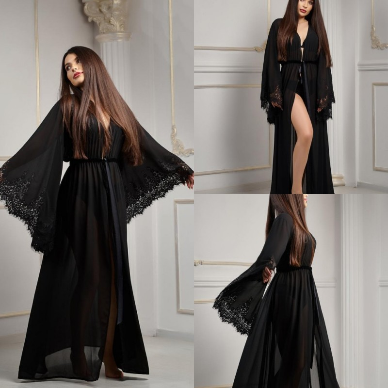2019 Sexy Black Night Robe Long Sleeves Lace Chiffon Party Sleepwear Custom Made Nightgown Robes