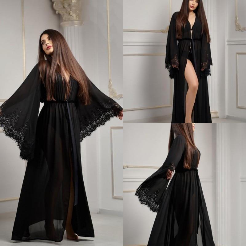 2019 Sexy Black Night Robe Long Sleeves Lace Chiffon Party Sleepwear Custom Made Nightgown Robes