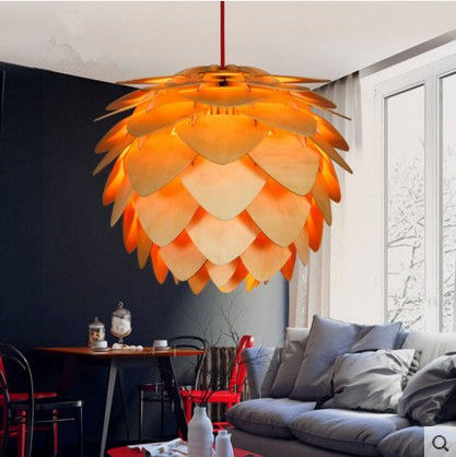 Wooden Nordic simple personality dining Cafe living room bedroom wood art Pinecone Pendant Lights Home Decor Lighting Fixture in Pendant Lights from Lights Lighting